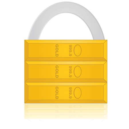safe investments: Concetto illustrazione che mostra un lucchetto composto da oro, che implica un investimento sicuro