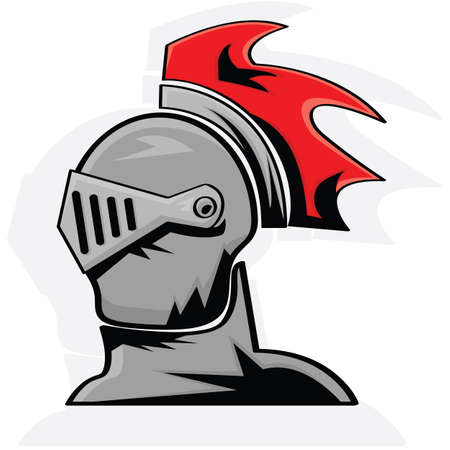 Cartoon illustration showing the head of a knight in armor Vector