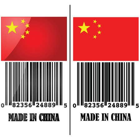 Illustratie van de vlag van China met een barcode eronder en de woorden Made in China