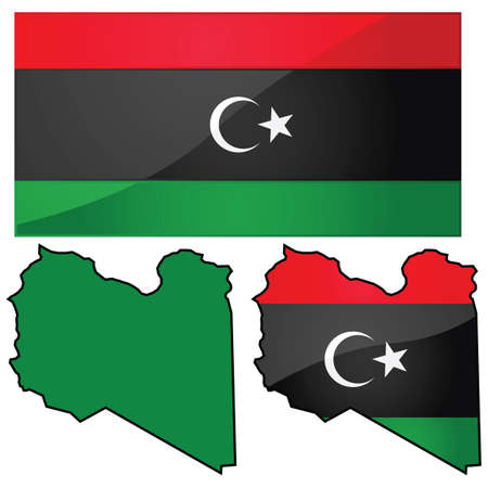 transitional: Glossy illustration showing map of Libya with flag used by transitional government (and from 1951-1969)
