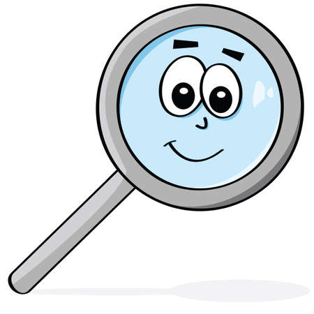 Cartoon illustration of a magnifying glass with a happy face