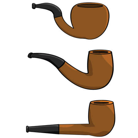 Cartoon illustration showing a collection of three different pipes Çizim