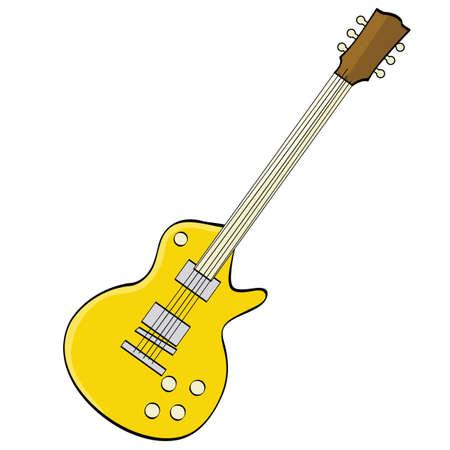 music: Cartoon illustration showing a fancy yellow guitar