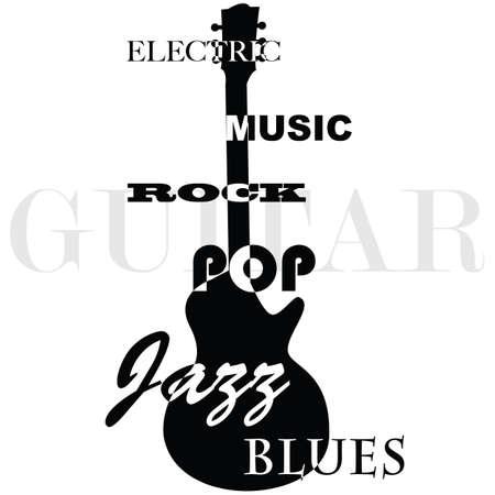 Koncepce ilustrace zobrazující obrys elektrickou kytaru s hudebními žánry písemných nad ním