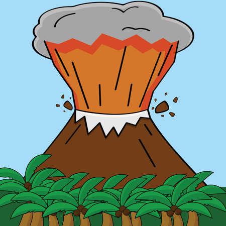 uitbarsting: Cartoon illustratie toont een uitbarstende vulkaan in een tropisch eiland