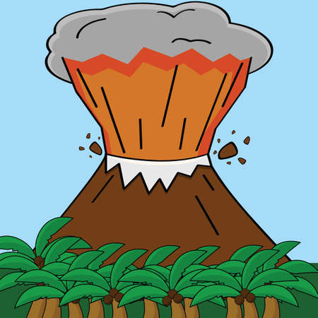 Cartoon illustration showing an erupting volcano in a tropical island Çizim