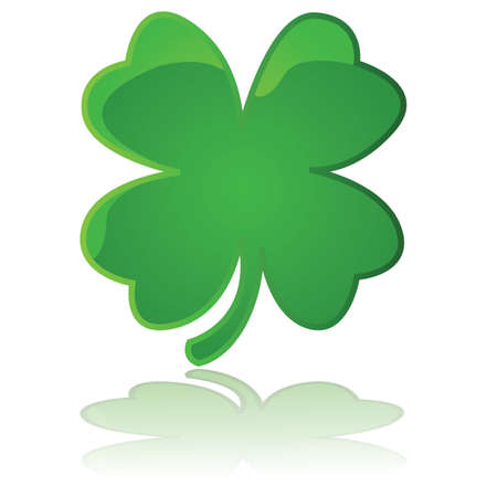 Glossy illustration showing a four leaf clover reflected on a white surface Vector