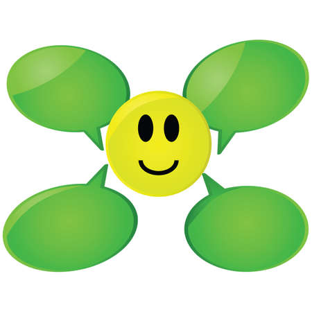 happy: Glossy cartoon illustration showing a happy face with talk balloons around it
