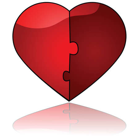 reflection of life: Glossy illustration showing two halves fitting perfectly like a puzzle to form one single heart