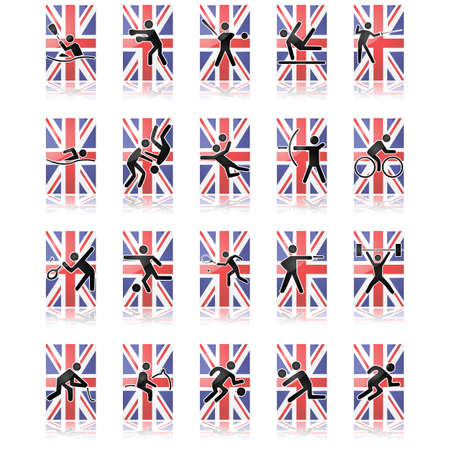Collection of different sport icons over a United Kingdom flag and reflected over a white surface Vector