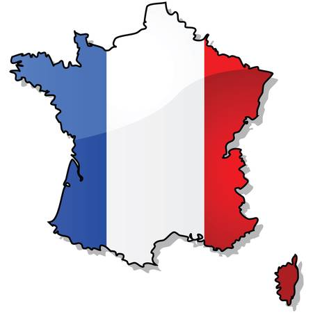 Glossy illustration showing the map of France with the countrys flag superimposed over it. Ilustracja