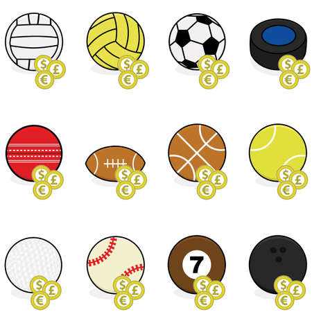 cricket ball: Collection of color sports balls with coins on top of them to symbolize sports betting