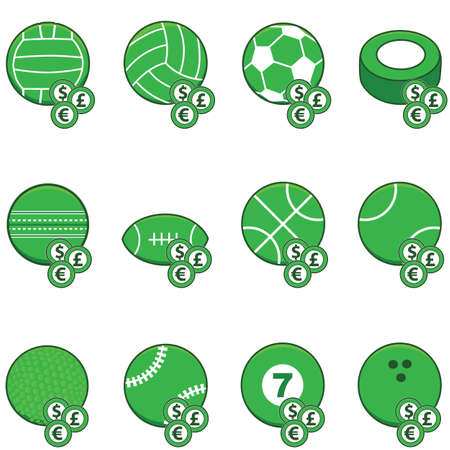 Collection of green sports balls with coins on top of them to symbolize sports betting Illustration