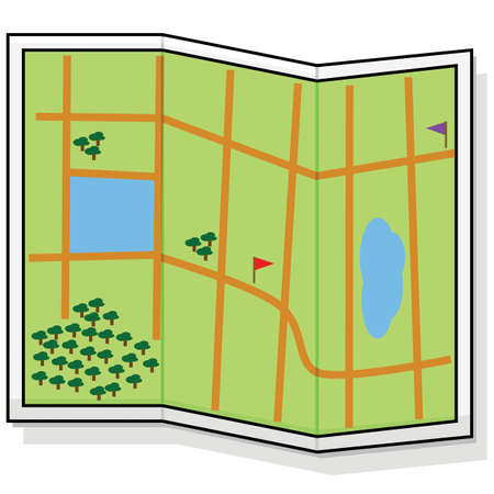 Cartoon illustration showing a generic map with some roads and natural features such as trees and lakes