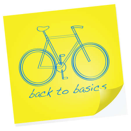 Cartoon illustration showing a sketch of a bike on a sticky note with the words Back to basics under it