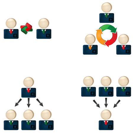 boss and employee: Icon set showing business people connecting to each other
