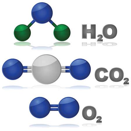 hidrógeno: Ilustración brillante que muestra la composición de tres moléculas diferentes que se encuentran comúnmente: agua, dióxido de carbono y oxígeno. Vectores