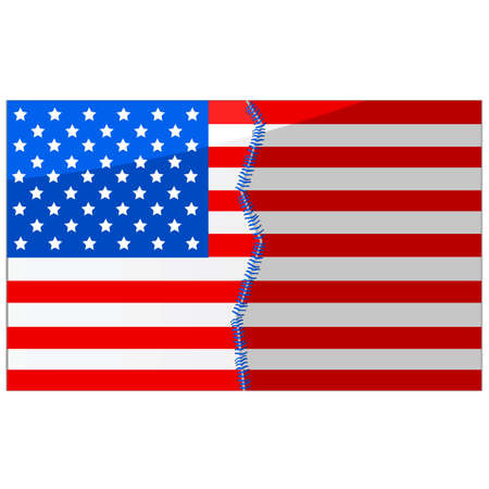 stitched: Concept illustration showing an American flag divided in half and stitched back together