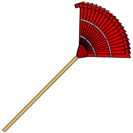 upkeep: Cartoon illustration of a common garden metal rake