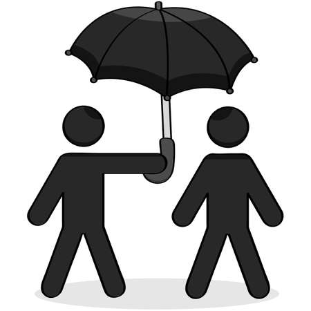 Cartoon showing a stick figure helping another with an umbrella Stock Vector - 16268268