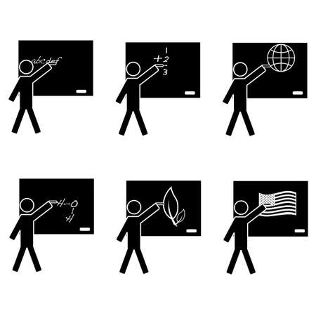 Black and white icon set showing a teacher on a blackboard teaching different subjects: alphabet, math, geography, chemistry, biology and history. Vector