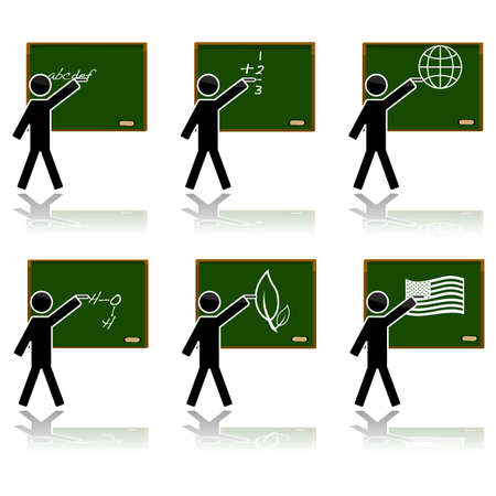 Glossy color icon set showing a teacher on a blackboard teaching different subjects: alphabet, math, geography, chemistry, biology and history.