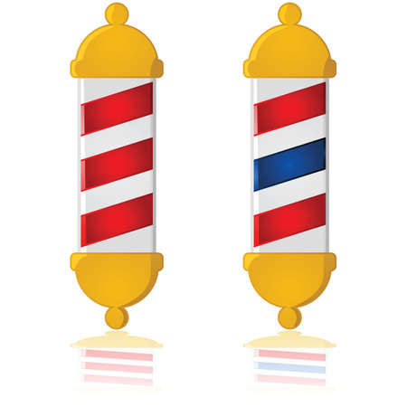 barber pole: Glossy illustration showing two different barber poles: one with red stripes and another with red and blue stripes Illustration