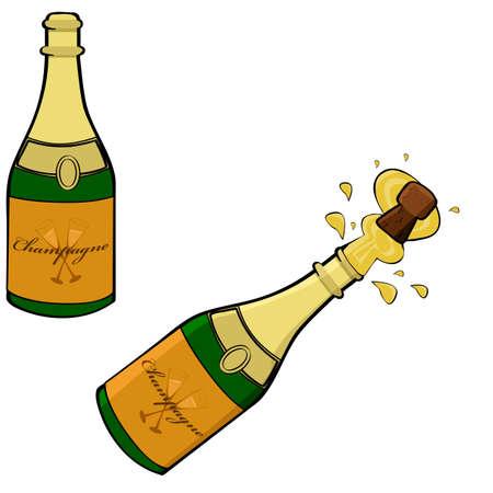 Cartoon illustratie toont twee champagne flessen, een gesloten en de andere wordt geopend