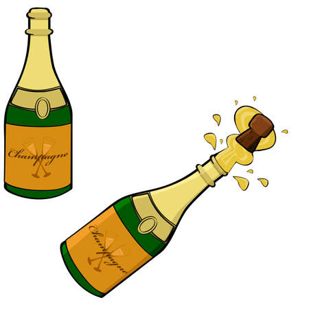 toasting wine: Cartoon illustration showing two champagne bottles, one closed and the other being opened