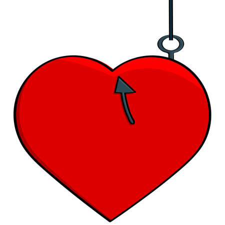 Concept cartoon illustration showing a heart hooked to a fish line, illustrating someone catching a love interest