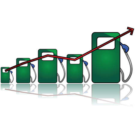 Concept illustration showing a graph with different sized gas pumps to symbolize gas prices going up Stock Vector - 16268297