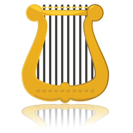 Glossy illustration showing a small harp reflected on a white surface Illustration