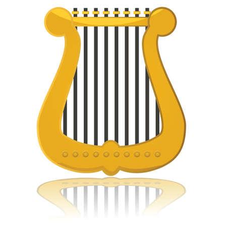 the harp: Ilustración brillante que muestra una pequeña arpa refleja en una superficie blanca
