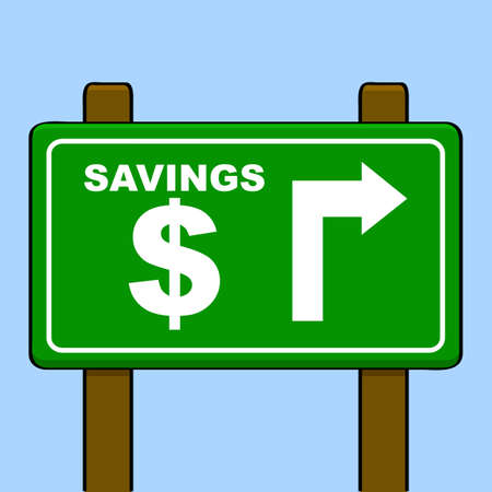 Traffic sign showing an arrow indicating where savings are located