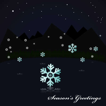 silent: Illustration showing a night scene near some mountains, with snow falling and reflected on the still surface of a lake