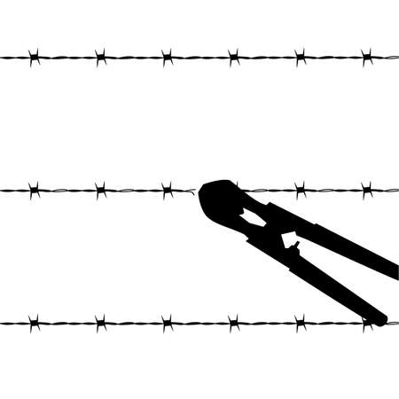 Cartoon outline illustration showing a barbed wire fence being cut by wire cutters Иллюстрация