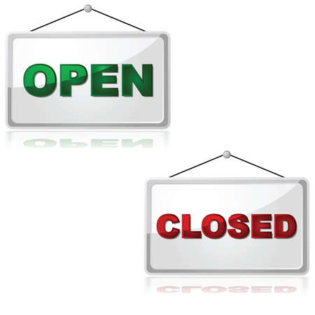closed sign: Glossy illustration showing an open and a closed sign, reflected over a white background Illustration
