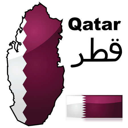 doha: Glossy illustration showing a map of Qatar with the flag of the country Illustration
