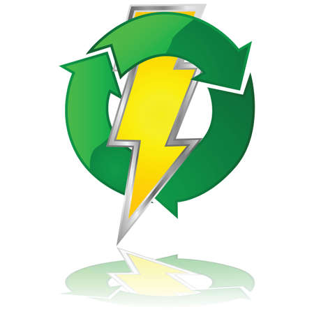 reusable: Glossy illustration of a lightning bolt surrounded by green arrows, symbolizing a reusable energy source