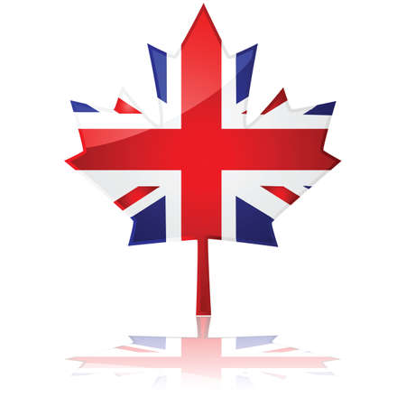 union jack: Flag of Britain shaped like Canadas maple leaf, symbolizing the friendship between the two coutries Illustration