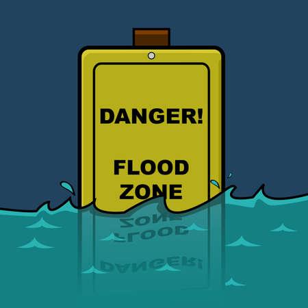 漫画のすでに途中で水に浸漬洪水地帯についての警告の交通標識を示す図  イラスト・ベクター素材