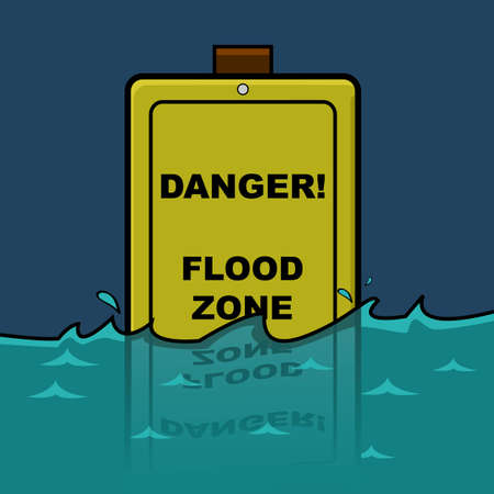 flood: Cartoon illustration showing a traffic sign warning about a Flood Zone, already halfway submerged in water