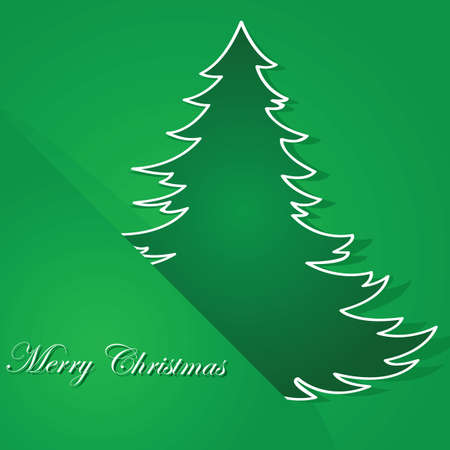 christmas greeting card: Christmas themed illustration showing a green background and a cartoon tree tucked inside a corner of it Illustration