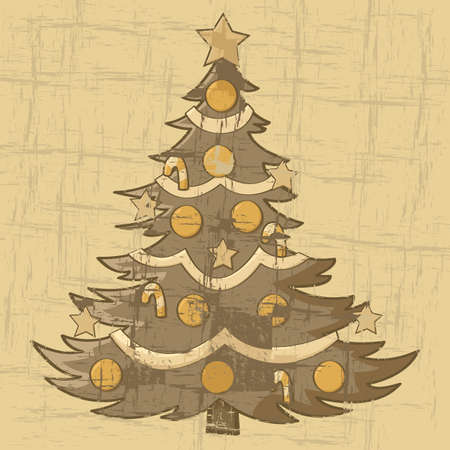 Cartoon illustration of a Christmas tree on an old brown paper