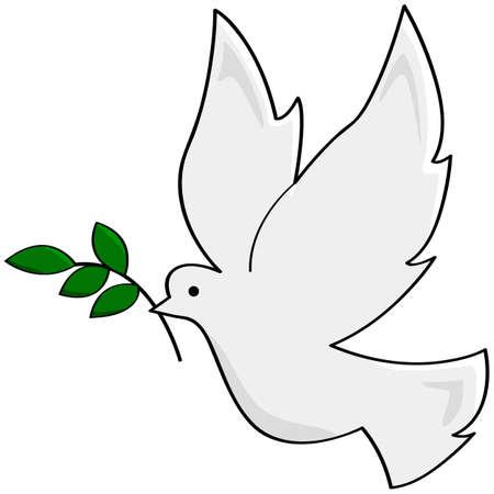 Cartoon ilustrace zobrazující bílé holubice nesoucí malou pobočku, symbolizující mír