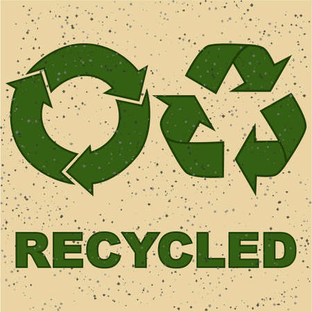 Concept illustration showing two recycling signs on a recycled paper texture Illusztráció