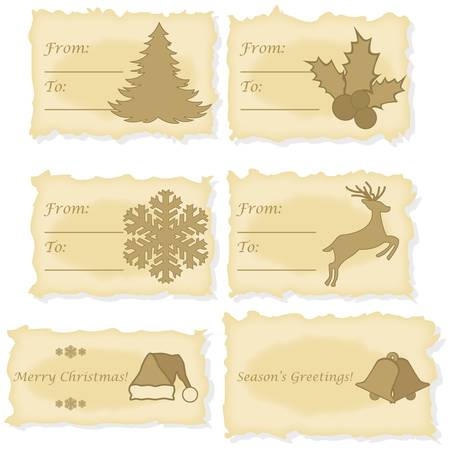 Set of six different Christmas and gift cards printed on old parchment paper