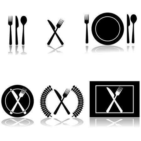 cuchara y tenedor: Ilustraciones de iconos de tenedor, cuchillo y cuchara dispuestos en diferentes formas Vectores