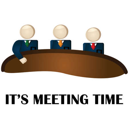 Illustration showing group of businessmen at a table ready for a meeting Illustration