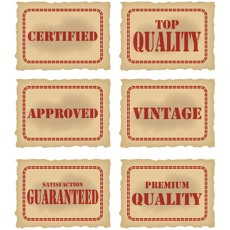 Collection of different seals attesting quality of a product, printed in red over old brown fading paper